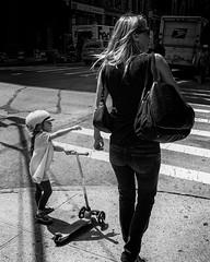 new york (Peter du Gardijn) Tags: girl motherdaughter blackwhite streetphotography helmet nikond600 step newyork usa scooter child children shadow