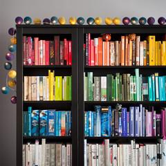 D52 / Y6. (evilibby) Tags: bookshelf books rainbow red orange yellow green blue indigo purple white grey cablecotton shelf project365