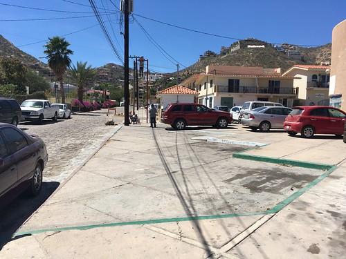 Diagonal parking cutout through sidewalk