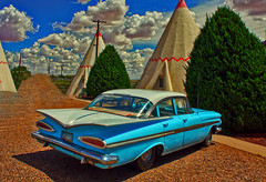 See the USA in Your Chevrolet (oybay©) Tags: chevrolet cardealer earnhardtchevrolet earnhardt chandler arizona car automobile yellow yellowcar multiple many coolcar cool envy envious cloned clone vehicle tire sport auto racing outdoor sports rim wheel chevybelair belair fin fender angle showcar impala airplane aircraft wigwammotel holbrook wigwam motel indian motif unusual teepee
