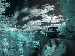 Mountain Temple, Yama-dera, In Infrared (aeschylus18917) Tags: danielruyle aeschylus18917 danruyle druyle ダニエルルール japan 日本 infrared ir surreal 赤外線 1424mm yamagata yamadera panorama 山形県 山形市 山寺 mountaintemple buddhism temple shrine pxt