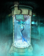 From the other side of the glass (meriluu17) Tags: poseidon tube mermaid creepy dangerous glass laboratorium lab psyhic pshycho danger dark darkness teal merfolk fantasy tail fish