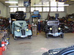 Three for the road: Cahors, France (ronmcbride66) Tags: cahors france cars vintagecars classiccars retro retrocars motorclub vintagepickup citroen workshop carworkshop cahorsautoretroclub michelin respray restoration style classic nostalgia headlamps radiatorgrill bonnet hood tyres