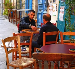 Backgammon game (Marite2007) Tags: outdoors liimassol cyprus streetlife terrasse game backgammon tavli