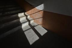 When the sun comes in (PWM8154) (Pieter Berkhout) Tags: pieterberkhout windowlight lightfall stairs moutiers clairobsure chiaroscura lichtdonker trap schaduw lichtval