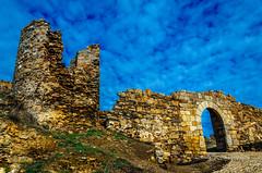 Blue Castle (Walimai.photo) Tags: salvatierra tormes salamanca spain españa castle castillo wall muralla cielo sky piedra stone blue azul golden dorado nikon d7000 18105 pueblo village rustic rústico santa teresa embalse