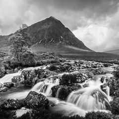 Buachaille (amcgdesigns) Tags: andrewmcgavin buachaille glencoe river slowshutter water waterfall mono monochrome blackandwhite silverefex canon1022mm square squarecrop clouds