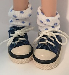 White With Blue Dots...Short Socks...For Blythe...