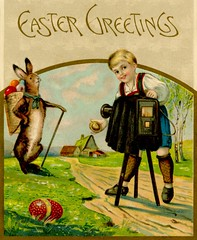 Photogenic Easter Bunny (Alan Mays) Tags: ephemera postcards greetingcards greetings cards eastercards paper printed easter holidays rabbits bunnies animals easterbunny easterrabbit easterbaskets eggs baskets children boys clothes clothing roads houses anthropomorphic anthropomorphism photographers photography cameras viewcameras lenscaps tripods windows photostudios posing spring seasons illustrations borders humor humorous funny comic gold green red 1909 1900s antique old vintage typefaces type typography fonts