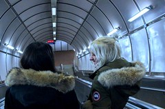 All smiles to the subway (alyssaalloy) Tags: blue cooltones portrait happy coat brunette blonde smile laugh people winter fun outside subway friends