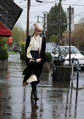 Goth Victorian (eyepiphany) Tags: fashion rainydayfash streetphotography portlandoregon hawthorneboulevard gothvictorian steampunkchic springfashion blackfeltmaxicoatwithquiltedwhitesilklining lacetop grannyboots blackleatherlaceupankleboots beautyonthestreet