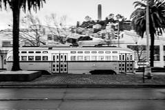 Street Car 1070 (waarondaniel) Tags: sanfrancisco tram train transit urban blackandwhite bw monochrome coit tower embarcadero pier california silverefexpro2