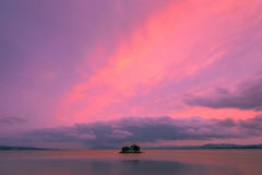 sunset 8048 (junjiaoyama) Tags: japan sunset sky light cloud weather landscape pink purple contrast colour bright lake island water nature spring