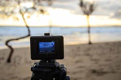 Fixing a video (kutruvis nick) Tags: greece greek hellas attiki lagonisi bluecoast beach sand sea water trees sky clouds sunset actioncam recording fixing video tripod screen nik kutruvis nikon d5100