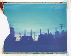 Valley Generating Station (monodistortion) Tags: polaroid polaroidautomatic100landcamera automatic100 polaroid669 expiredfilm expired199910 divot polaroidweek roidweek2017 sunvalley sunset sky losangeles california ladwp powerstation powerplant electricity naturalgas explored
