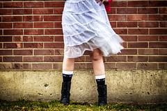 Spring Fever (flashfix) Tags: april102017 2017inphotos ottawa ontario canada canon canoneos5dmarkii 5dmarkii 100mm portrait legs boots socks cat cateyes jo lacy lacygentlywaftinghemline bricks texture grunge contrast combatboots