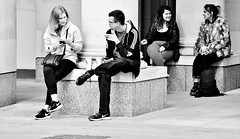 Four Way Conversation (jaykay72(Away For A While)) Tags: london uk street candid streetphotography londonist paternostersquare stphotographia blackandwhite bw