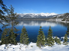 Lake Tahoe Winter Reflection (Explored) (claypeoples) Tags: snow winter lake water blue tahoe sierra nevada california mountain scenery landscape alpine pine