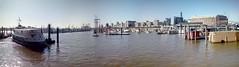 HafenCity Hamburg (Litil Divil) Tags: water wasser port hamburg sky sun hafencity boat elbe labe buildings panorama