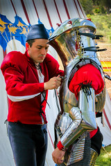 Suiting up for battle (Photos By Clark) Tags: 2801350mm california canon20d canon28135 locale location northamerica pc200804 photoclubmonthlyoutings places unitedstates where escondido squire battle armor preparations nik colorefx lightroom
