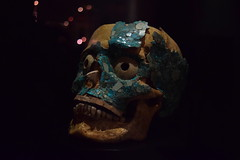 Turquoise covered skull (nickdippie) Tags: mexico oaxaca centralamerica templodesantodomingo museum zapotecrelics prehispanic relic ancient art jewellery burialtreasures treasure zapotec montealban skull turquoise