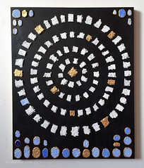 "Ancient History Project: First Exhibition After Gluing (Stephanie ""Biffybeans"" Smith) Tags: stephaniesmith stephsmith art artist biffybeans blogger mandala tedxspeaker writer fountainpen ink moleskine rhoda paperblanks journals paper writing sketching shredded destroy transform recycling upcycling recycledpaper papermaking pulp metmuseum ancientegypt scarab exhibition display artifact relic gold golden arrangement collage mosaic jadepva goldenacrylicpaint bananafactory artstudio residentartist southbethlehem sacredart visionaryart meditation expressiveart spirituality"