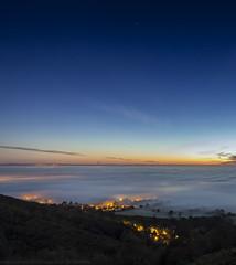 Light Show (MarkWaidson) Tags: malvern worcestershire hills mist fog lights trees stars sunrise