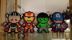 The Avengers (Claire Coopmans) Tags: avengers marvel hama bead beads iron man thor hulk captain america pixel pixels super héros hero decoration