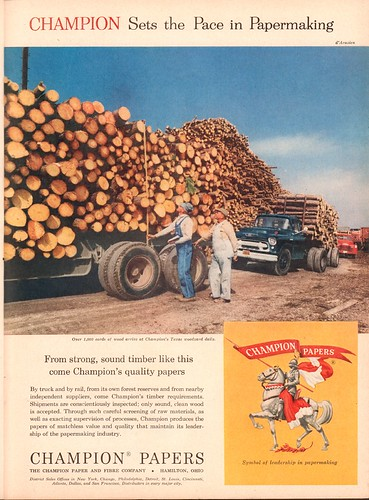 1956 Champion Papers Advertisement Time Magazine June 25 1956