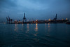 asian harbour (grapfapan) Tags: blue reflection turkey lights asia harbour istanbul cranes bluehour bosphorus nightfall