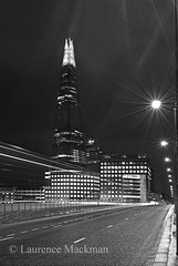 LondonBridge 036 E W BW (laurencemackman) Tags: lighting longexposure bridge england london tower cars glass architecture modern night reflections londonbridge concrete photography lights twilight traffic piers architect historical elevation architects shard riverthames renzopiano span streamline londonbridgestation londonskyline broadwaymalyan theshard motthayandanderson lordholford