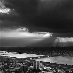 Storm Over Osaka. (Photoroca) Tags: city sky panorama storm black rain clouds lluvia torre cloudy ciudad cielo panoramica nubes tormenta vista nube mirador malo overview tiempo clima climatico nubladp stormoverosaka tormentaenosaka