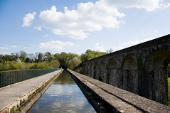 Chirk Aquaduct (Alastair Cummins) Tags: bridge sunset england water wales marina train reflections river cow boat canal geese scenery steps railway tunnel goose steam float nationaltrust riverdee chirkcastle aqauduct nikond90