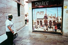 fiction (cHr1st1an S images) Tags: street city venice people italy test streetart man color film colors lines architecture analog 35mm poster graffiti flickr geometry streetphotography line 35mmfilm analogue gr1s venezia ricoh gr1 ricohgr analogic colorfilm analogico negativefilm ricohgr1s geometries chr1st1ans christiansorrentino