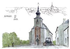 3,000,000 de vues sur Flickr...  et un dessin à Aublain. (gerard michel) Tags: sketch belgium aquarelle watercolour église namur croquis aublain