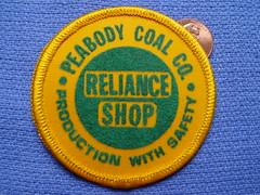 Peabody Coal Company, Reliance Shop patch (Coalminer5) Tags: mining patch coal peabody miner miners coalminer coalmining sewonpatch peabodycoal powerforprogress peabodyenergy coalmemorabilia miningmemorabilia miningcollectible