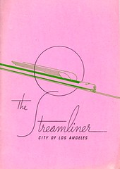 The Streamliner (jericl cat) Tags: city railroad pink history train vintage circle paper logo typography design losangeles rail s ephemera font type artdeco brochure cursive streamliner