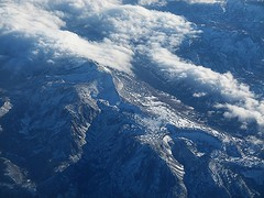 Aerial View of Mountains on the Northern Californian Border (praja38) Tags: sanfrancisco california above sky snow mountains clouds america plane landscape us shot unitedstates state nevada border flight ground aerial northern forested
