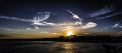 Sunset on Wings (Sirius-Art) Tags: sunset sea summer sky panorama sun reflection bird love sol beach nature fire star iso100 wings nikon warm stitch natural pano dorset photomerge epic bournemouth pheonix slouds d3000