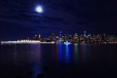 Vancouver at night (Juan Rostworowski) Tags: ocean city travel sky moon canada art skyline night vancouver clouds landscape photography lights nikon marine downtown cityscape nightlights view juan artistic britishcolumbia wideangle citylights nikkor canadaplace coalharbour 1424mm rostworowski d800e