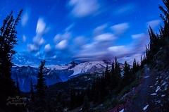 Dawn on Mount Rainier (Brian Xavier) Tags: nightphotography mountains horizontal clouds stars landscape photography dawn washington nationalpark hiking fineart bluesky nobody nopeople september fisheye alpine mountrainier mountrainiernationalpark glaciers pacificnorthwest bluehour wilderness photographicart naturalbeauty mtrainier lenticularcloud awayfromitall landforms naturalworld allalone fisheyelens timeexposures copyrighted blurredmotion mtrainiernationalpark colorimage godscreation beautyinnature cloudymorning starrysky summeractivities starsinthesky peacefulmorning Astrometrydotnet:status=failed d7000 rightbeforesunrise bxavier sunriseatmountrainier bxphoto brianxavierphotography brianxavier bxfoto bxfotocom hikinginthenorthwest Astrometrydotnet:id=nova192787