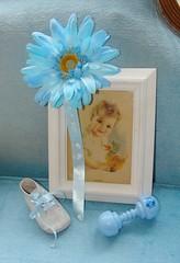 Baby Shower Decor (Bluebird Becca) Tags: blue boy portrait baby flower yellow vintage shower shoe picture rattle