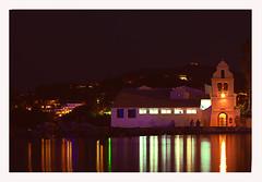 Island of Corf - Greece. (Serapic) Tags: sea night island lights reflex seaside mare colours greece grecia luci colori notte luce isola riflesso