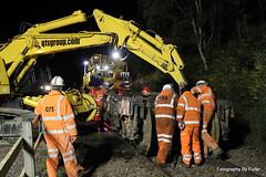 018. First bogie re-railed at Loch Treig. 09-Oct-13 (paulfuller128) Tags: west support rss railway line highland loch services derailment qts tulloch treig rerailing 66734