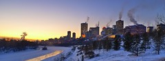 Edmonton at minus 23 C (The Globetrotting photographer) Tags: winter sunset urban snow canada cold nature weather skyline landscape downtown edmonton freezing alberta edmontonskyline  winterinedmonton  edmontoninwinter frozenedmonton freezinginedmonton deepfreezeinedmonton        edmontondeepfreeze coldedmonton edmontonsubzero
