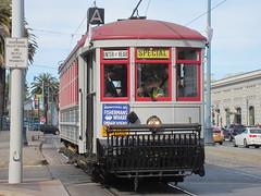 MUNI #1 (W.L. Holman Trolley) in San Francisco, CA (CaliforniaRailfan101 Photography) Tags: trolley tram muni streetcar sanfranciscoca pcc streamliner sanfranciscomunicipalrailway stlouiscarcompany