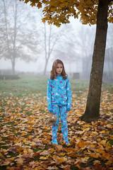(John Carleton) Tags: morning autumn fall leaves yellow fog portland foggy pdx jammies pajamas gettyimages stockphoto nopo footies mayzie
