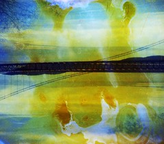 (mikehip) Tags: bridge sky ny newyork color film colors yellow metal 35mm holga iron exposure kodak double damaged destroyed catchy bleached ocny vision:sunset=0547 vision:sky=0806 vision:plant=0689