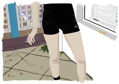 smokin chick (Andre Salinder) Tags: woman white house black girl fashion illustration garden smoke chick shorts illustrator adidas smokie cigarrete sportswear tightshorts salinderandre andresalinder