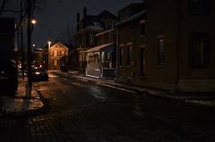 Cold Blue On Blenkner Street (MPnormaleye) Tags: street city urban brick window architecture night 35mm buildings dark utah moody darkness streetlamp cities neighborhood weathered brownstone 1900s